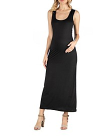 Scoop Neck Maternity Maxi Dress with Racerback Detail