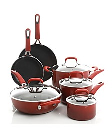 Andover Red Nonstick Stackable 10-Pc. Cookware Set
