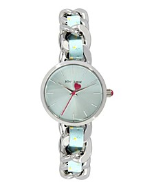 Women's Woven Floral Silver-Tone and Floral Printed Polyurethane Bracelet Watch 30mm