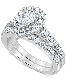 Certified Diamond Pear Halo Bridal Set (2 ct. t.w.) in 18K White, Yellow or Rose Gold