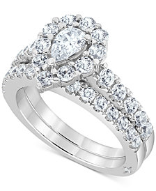 Marchesa Certified Diamond Pear Halo Bridal Set (2 ct. t.w.)