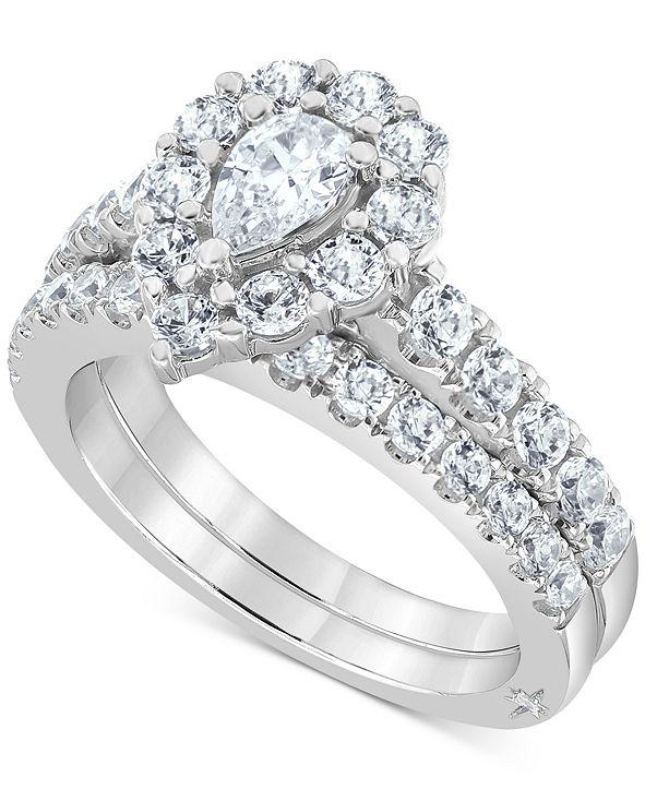 Marchesa Certified Diamond Pear Halo Bridal Set (2 ct. t.w.)