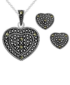 2-Pc. Set Swarovski Marcasite Heart Pendant Necklace & Matching Stud Earrings in Fine Silver-Plate