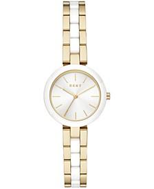 Women's Citylink Gold-Tone Stainless Steel & White Ceramic Bracelet Watch 26mm