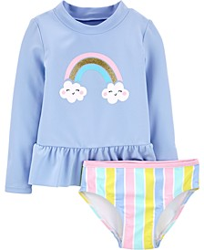 Toddler Girls 2-Pc. Rainbow Rashguard Swim Set