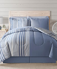 Fairfield Square Coastal Hampton Blue 8Pc Full Comforter Set