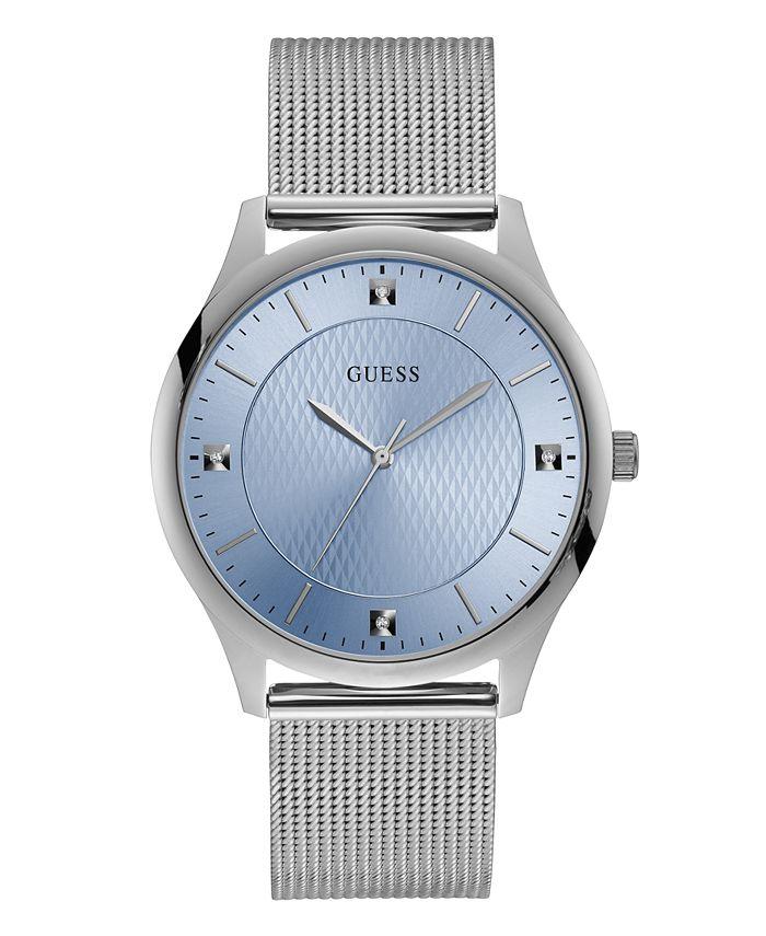 GUESS - Guess Men's Genuine Diamond Mesh Silver-Tone Watch 44mm