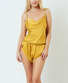 Satin Cowl Cami Tap Short Set