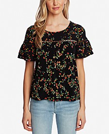 Printed Tiered-Sleeve Top