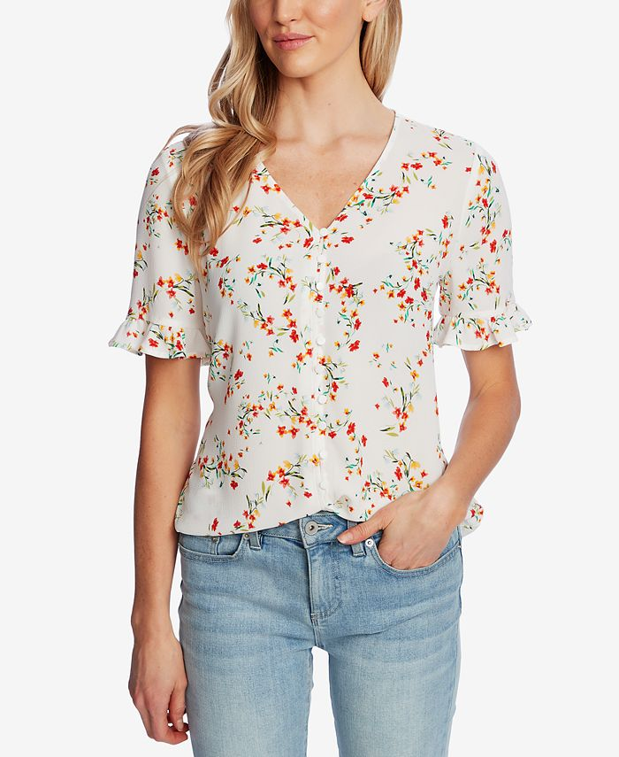 CeCe - Printed Ruffle-Sleeve Top
