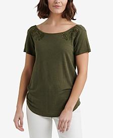 Eyelet Scoop-Back T-Shirt