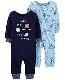 Baby Boys 2-Pack Printed Cotton Coveralls