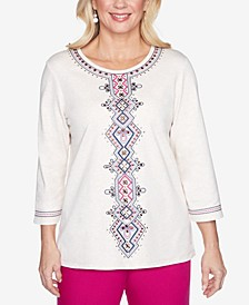 Petite Panama City Embroidered Top