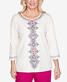 Alfred Dunner Petite Panama City Embroidered Top
