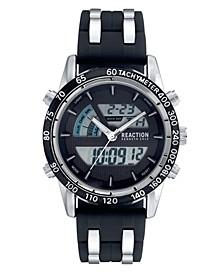 Men's Ana-Digi Round Black Silicon Strap Watch 44mm