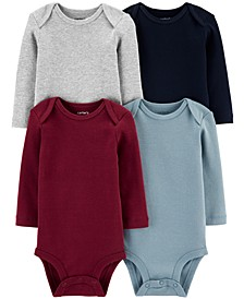 Baby Boys 4-Pk. Multi-Color Long-Sleeve Cotton Bodysuits