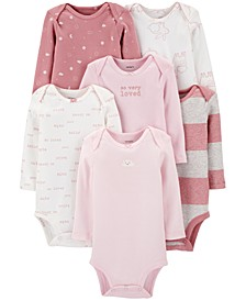 Baby Girls 6-Pack Long-Sleeve Printed Cotton Bodysuits