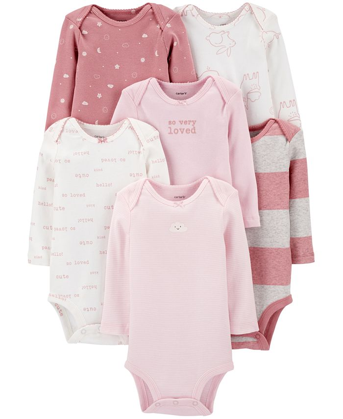 Carter's - Baby Girls 5-Pack Long-Sleeve Printed Cotton Bodysuits