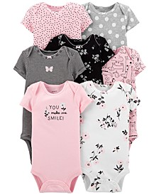 Baby Girls 7-Pk. Cotton Hearts & Florals Bodysuits