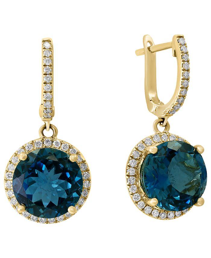 LALI Jewels - London Blue Topaz (8-1/2 ct. t.w.) & Diamond (3/8 ct. t.w.) Drop Earrings in 14k Gold