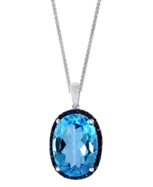 """Swiss Blue Topaz (13-7/8 ct. t.w.) & Sapphire (1/2 ct. t.w.) 18"""" Pendant Necklace in 14k White Gold"""