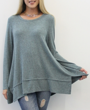 1804 Women's Long Sleeve Pleat Button Back Top