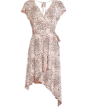 Bcbgmaxazria Animal-print Asymmetrical Dress In Pink Rose-painted