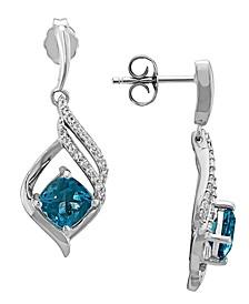 Swiss Blue Topaz (2-3/8 ct. t.w.) & White Topaz (1/5 ct. t.w.) Drop Earrings in Sterling Silver