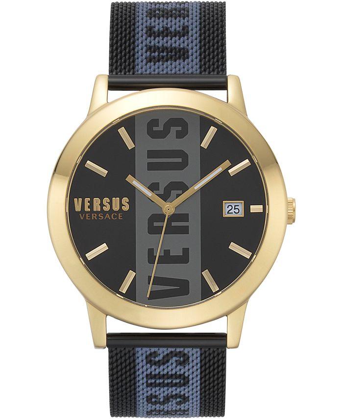 Versus by Versace - Men's Barbès Black Stainless Steel Mesh Bracelet Watch 44mm
