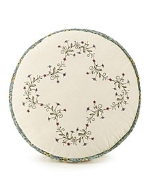"""Olivia Embroidered 14"""" Round Decorative Pillow"""