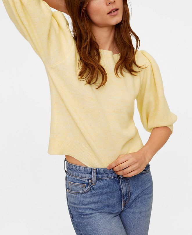 MANGO Puffed Sleeves Crop Sweater