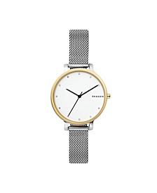 Women's Hagen Two-Tone Stainless Steel Mesh Watch 34mm