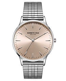 Men's 3 Hands Silver-tone Stainless Steel Watch on Silver-tone Stainless Steel Mesh Bracelet, 40mm