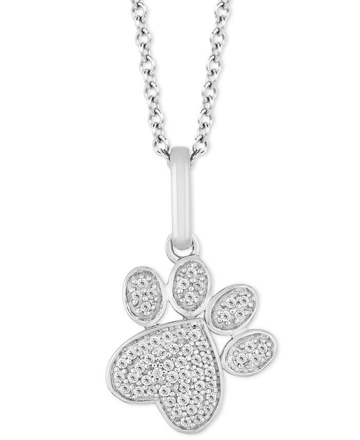"Hallmark Diamonds - Diamond Paw Print Pendant Necklace (1/10 ct. t.w.) in Sterling Silver, 16"" + 2"" extender"