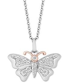 """Butterfly Joy pendant (1/5 ct. t.w.) in Sterling Silver & 14k Gold, 16"""" + 2"""" extender"""