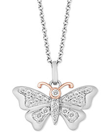 "TOKENS by Hallmark Diamonds Butterfly Joy pendant (1/5 ct. t.w.) in Sterling Silver & 14k Gold, 16"" + 2"" extender"