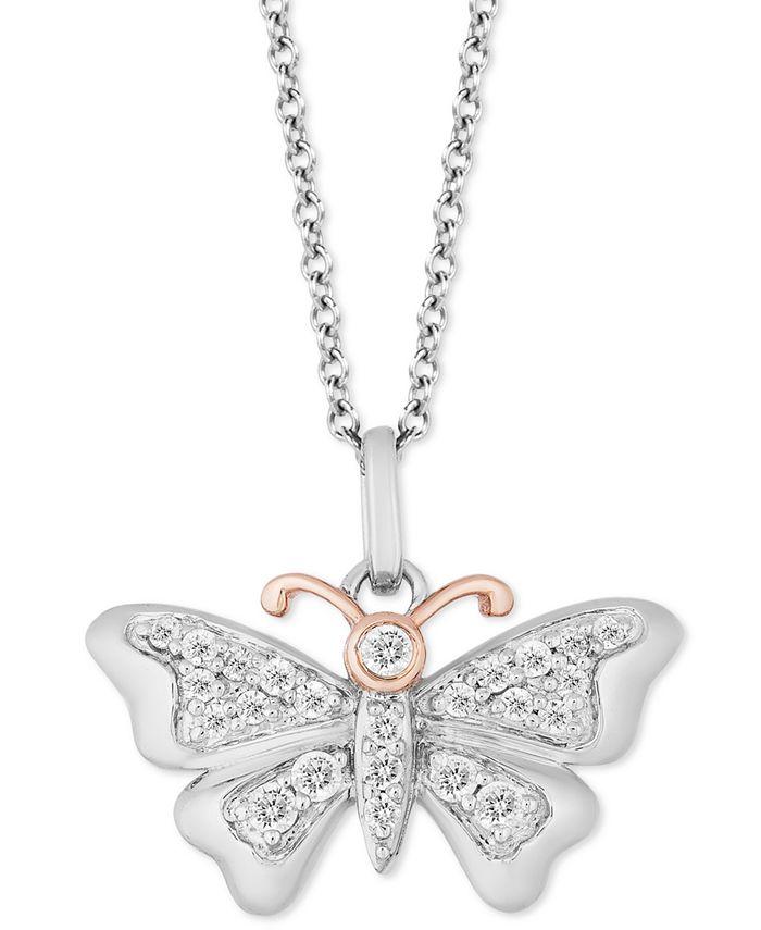 "Hallmark Diamonds - Diamond Butterfly Pendant Necklace (1/5 ct. t.w.) in Sterling Silver & 14k Gold, 16"" + 2"" extender"