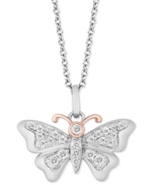 Butterfly Joy pendant (1/5 ct. t.w.) in Sterling Silver & 14k Gold