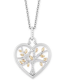 """Heart Family Tree Strength pendant (1/10 ct. t.w.) in Sterling Silver & 14k Gold, 16"""" + 2"""" extender"""