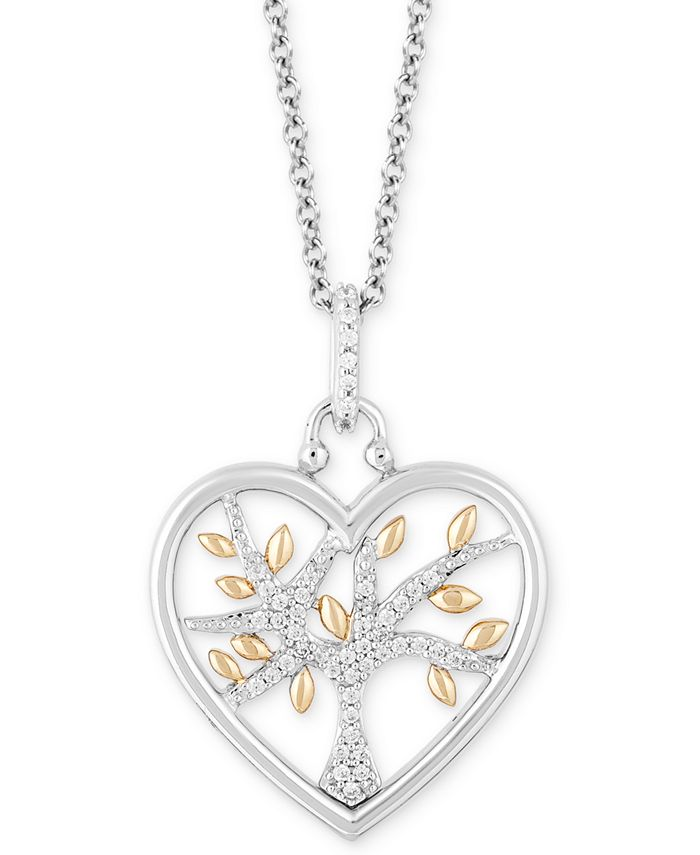 "Hallmark Diamonds - Diamond Heart Family Tree Pendant Necklace (1/10 ct. t.w.) in Sterling Silver & 14k Gold, 16"" + 2"" extender"