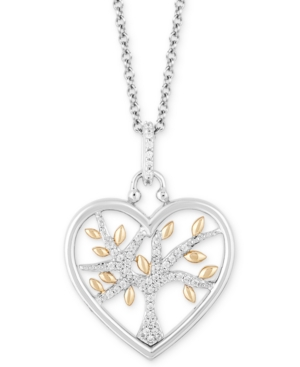 Heart Family Tree Strength pendant (1/10 ct. t.w.) in Sterling Silver & 14k Gold