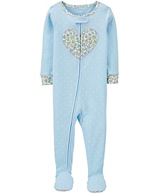 Toddler Girls 1-Pc. Dot-Print Heart Footie Cotton Pajamas