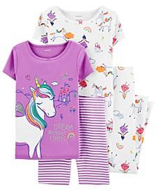 Big Girls 4-Pc. Unicorn Printed Cotton Pajamas Set