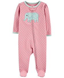 Baby Girls 1-Pc. Elephant Cotton Coverall
