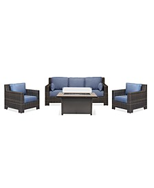 Viewport Outdoor 4-Pc. Set (1 Sofa, 2 Club Chairs & 1 Cal Sil Firepit), Created for Macy's