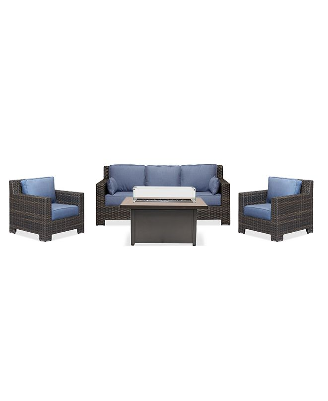 Furniture Viewport Outdoor 4-Pc. Set (1 Sofa, 2 Club Chairs & 1 Cal Sil Firepit), Created for Macy's