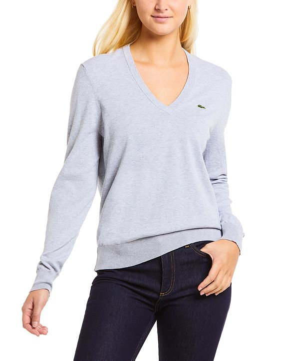 Lacoste Classic Cotton Boyfriend-Fit Long-Sleeve Sweater