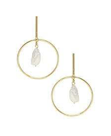 Modern Gold - Tone and Freshwater Pearl Drop Hoop Earrings