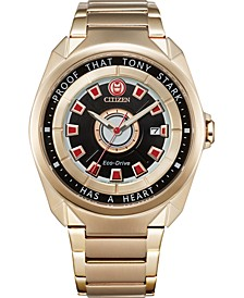 "Eco-Drive Men's Tony Stark ""I Love You 3000"" Gold-Tone Stainless Steel Bracelet Watch 43mm"