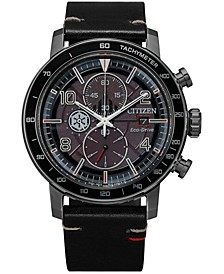 Citizen Eco-Drive Men's Chronograph Star Wars Darth Vader Black Leather Strap Watch 44mm
